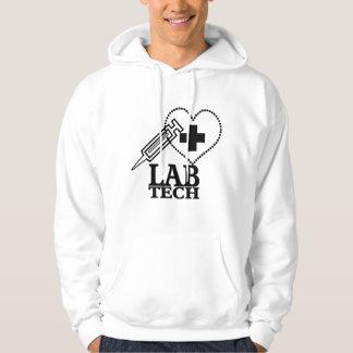 LAB TECH HEART. SYRINGE LOGO MEDICAL LABORATORY SC HOODIE