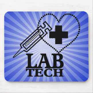 LAB TECH HEART. SYRINGE LOGO MEDICAL LABORATORY SC MOUSE PAD