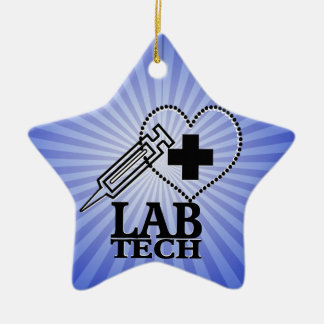 LAB TECH HEART. SYRINGE LOGO MEDICAL LABORATORY SC CHRISTMAS TREE ORNAMENT