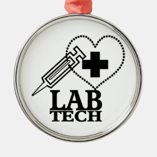 LAB TECH HEART. SYRINGE LOGO MEDICAL LABORATORY SC ORNAMENT