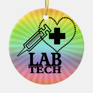 LAB TECH HEART. SYRINGE LOGO MEDICAL LABORATORY SC CHRISTMAS ORNAMENTS