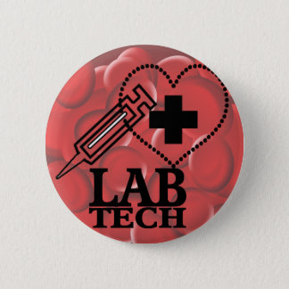 LAB TECH HEART. SYRINGE LOGO MEDICAL LABORATORY SC PINBACK BUTTON
