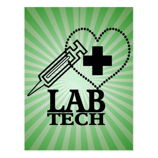 LAB TECH HEART. SYRINGE LOGO MEDICAL LABORATORY SC POST CARDS