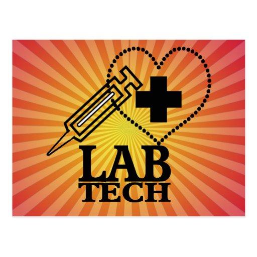 LAB TECH HEART. SYRINGE LOGO MEDICAL LABORATORY SC POSTCARDS