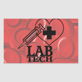 LAB TECH HEART. SYRINGE LOGO MEDICAL LABORATORY SC RECTANGULAR STICKER