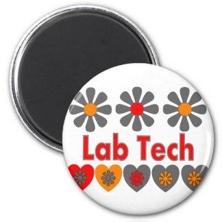Lab Tech RETRO flowers 2 Inch Round Magnet