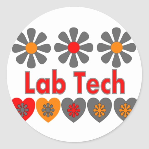 Lab Tech RETRO flowers Classic Round Sticker