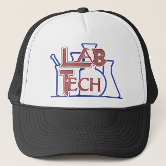 Lab Tech with Beakers and Flasks (Laboratory Tech) Trucker Hat