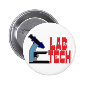 LAB TECH with MICROSCOPE 2 Inch Round Button