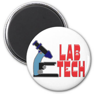 LAB TECH with MICROSCOPE 2 Inch Round Magnet