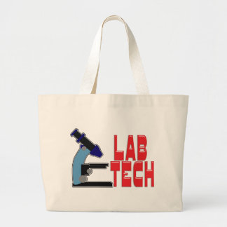LAB TECH with MICROSCOPE Large Tote Bag