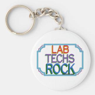 Lab Techs Rock Basic Round Button Keychain