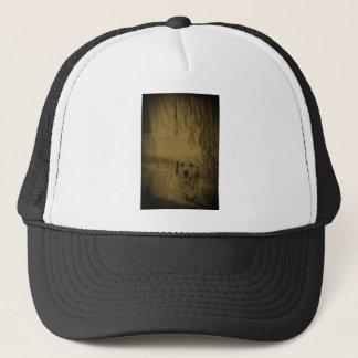 Lab Under Tree Trucker Hat