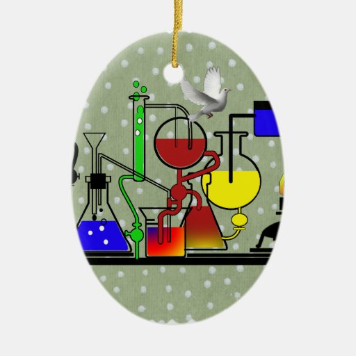 LAB WARE - LABORATORY  GLASSWARE MAD SCIENTIST Double-Sided OVAL CERAMIC CHRISTMAS ORNAMENT