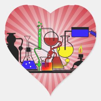 LAB WARE - LABORATORY  GLASSWARE MAD SCIENTIST HEART STICKER