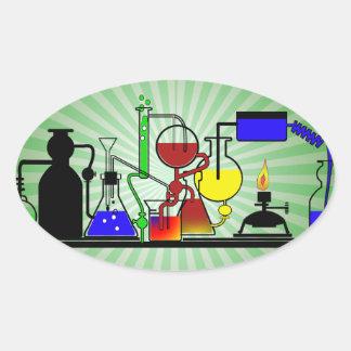 LAB WARE - LABORATORY  GLASSWARE MAD SCIENTIST OVAL STICKER