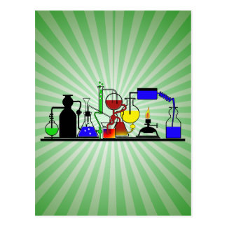 LAB WARE - LABORATORY  GLASSWARE MAD SCIENTIST POSTCARD