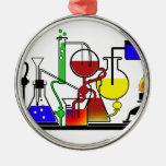 LAB WARE - LABORATORY  GLASSWARE MAD SCIENTIST ROUND METAL CHRISTMAS ORNAMENT