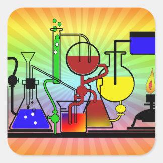 LAB WARE - LABORATORY  GLASSWARE MAD SCIENTIST SQUARE STICKER