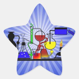 LAB WARE - LABORATORY  GLASSWARE MAD SCIENTIST STAR STICKER
