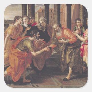 Laban Presenting Eliezer to his Father, 1562 Square Sticker