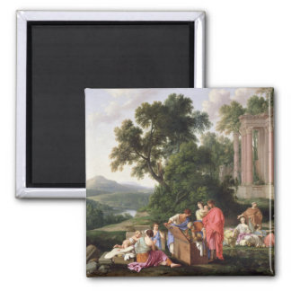 Laban Searching for the Idols, 1647 2 Inch Square Magnet