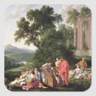 Laban Searching for the Idols, 1647 Square Sticker