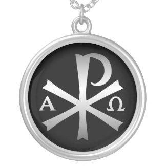 Lábaro cristiano del icono con alfa y Omega Colgante Redondo