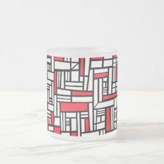 Labean Abstract Expression Red White Black 10 Oz Frosted Glass Coffee Mug