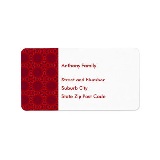 Label Abstract Red Circles Pattern on White