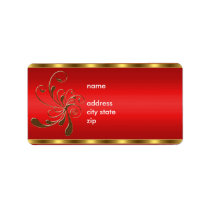 Label Address Gold Floral on Red