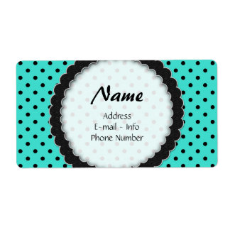 Label Black and Turquoise Polka Dot