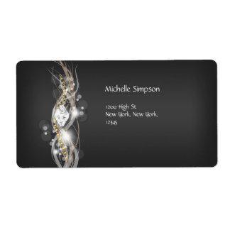 Label Black Grey White Gold Diamond Address Personalized Shipping Labels