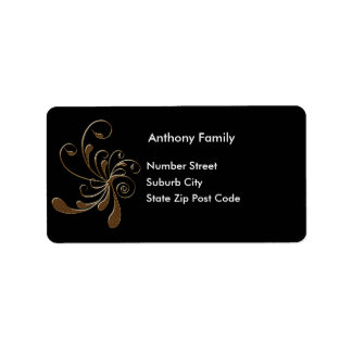 Label Black with Gold Floral Abstract