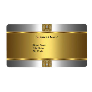 Label Business Elegant Silver Gold Jewel Shipping Label