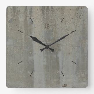 LABEL CONCRETE STAINED| industrial decor Square Wall Clock