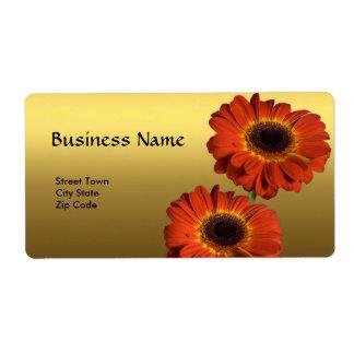 Label Elegant Personal Business Gold Orange Flower Custom Shipping Labels