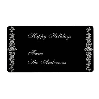 Label Gift Sticker Roses on Black Shipping Label