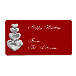 Label Gift Sticker Silver Hearts on Red Shipping Label