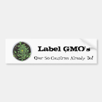 Label GMO's Tomato Plant Peace Sign Bumper Sticker