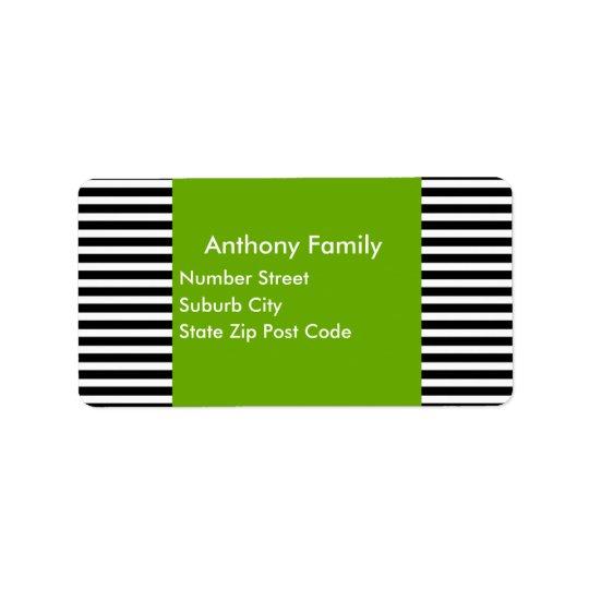 Label Green Black & White Stripe