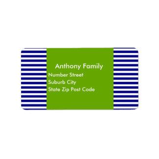 Label Green & Navy White Stripe