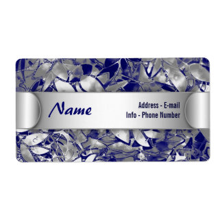 Label Grunge Art Silver Floral Abstract