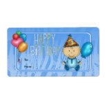 Label Kids Gift Tag Birthday Blue Personalized Shipping Labels