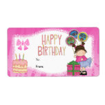 Label Kids Gift Tag Birthday Pink Shipping Label
