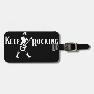 """Label of Leather Luggage-handle """"Keep Rocking """" Luggage Tags"""