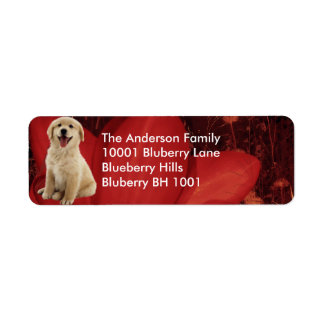 Label Return Address Golden Retriever & Flowers
