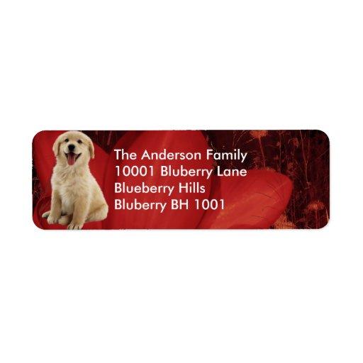 Label Return Address Golden Retriever & Flowers Custom Return Address Labels