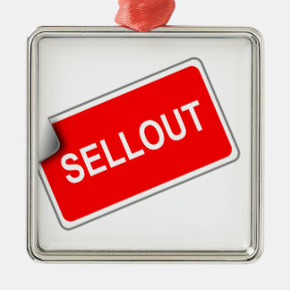 Label Sellout Square Metal Christmas Ornament