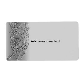 Label Sticker Silver White Floral Large